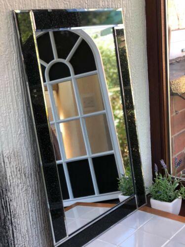 40*60cm BLACK GLITTER WALL MIRROR BLACK GLASS DRESSING TABLE BATHROOM MIRROR NEW
