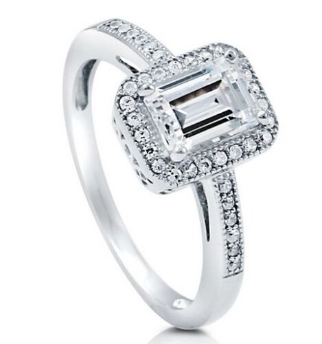 Silver 925 Emerald Cut Halo Engagement Ring W Micro Pave Accents  9 Delicate