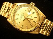 Men Rolex Solid 18K Yellow Gold Datejust w/Champagne Dial & President Style Band