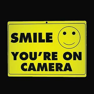 SECURITY-SIGN-10pc-Ten-SMILE-YOU-039-RE-ON-CAMERA-Warning-Surveillance-Alert-CCTV