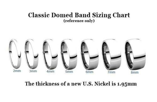 Ladies 10K White Gold Wedding Band Plain Domed Ring 3mm Wide Comfort Fit Edge