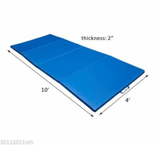 10/'×4/'×2/'/' Folding PU Leather Gym Exercise Mat 4 Panel Yoga Pad Aerobics Fitness