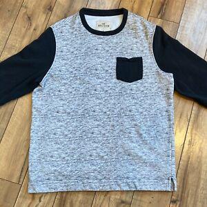 Hollister-Men-s-XL-Black-gray-pullover-Fleece-sweatshirt