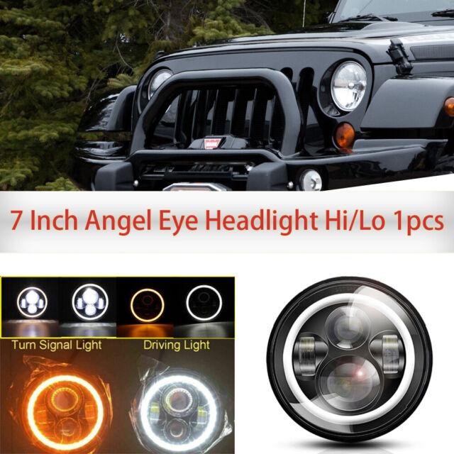"1PCS  LED Headlight 7/"" INCH Round 60W Halo DRL Angel Eye For Jeep Wrangler JK TJ"