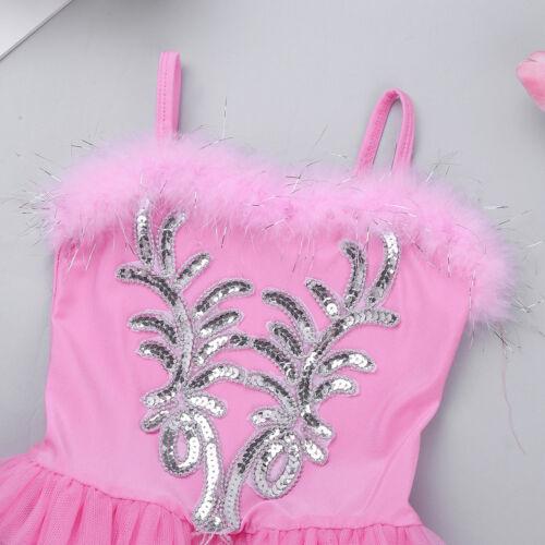 Kids Girls Ballet Leotard Dance Tutu Dress Swan Ballerina Gym Dancewear Costume