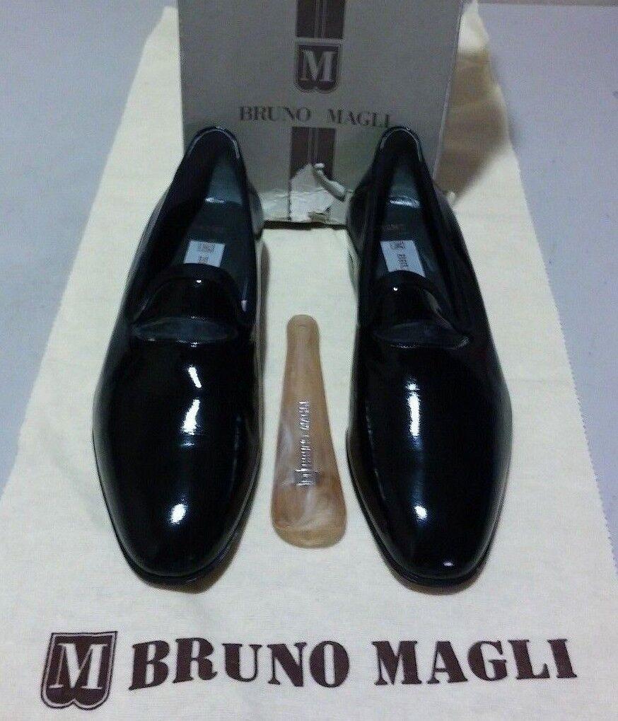 New Bruno Magli Gramo 7 M black satin patent leather (1023)