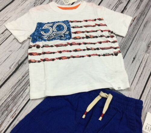Hot Wheels Shirt /& Blue Shorts Outfit Baby Gap Boys 12-18 Months Outfit Nwt