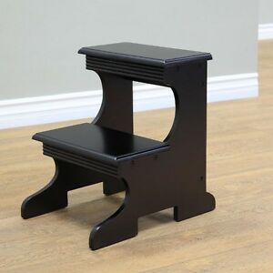 Wood Step Stool Kitchen Kids Bed Stepping Chair 2 Steps