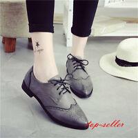 Retro Women's Flat Oxford Black Heel Vintage Wing Tip Shoes Lace up Pumps Brogue