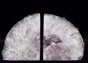 Agate-Bookends-Geode-Crystal-Polished-Quartz-Druzy-Brazil-Specimen
