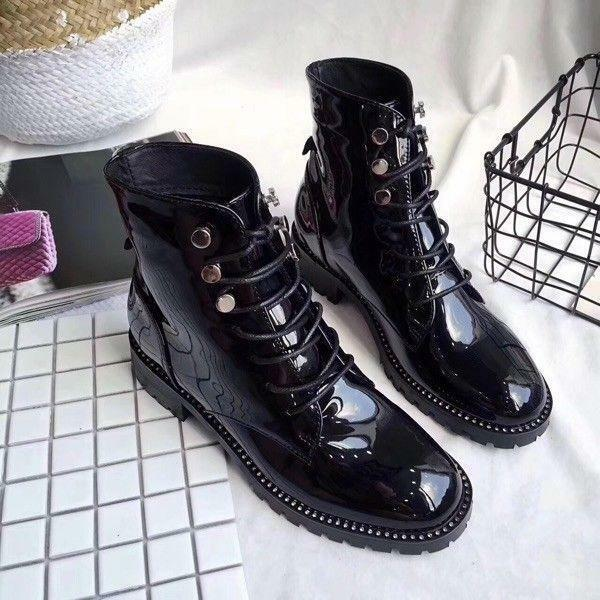 Womens Rivet Patent Leather Chunky Low Heels Lace Up Martin Ankle Boots shoes Sz