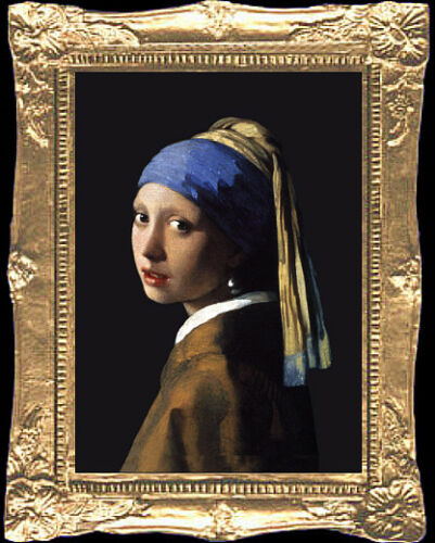 PEARL EARRING Dollhouse Miniature Art Picture MADE IN AMERICA FAST DELIVERY!!