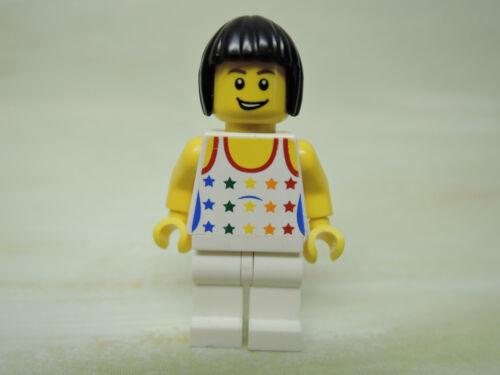 LEGO Figur City Frau weißes Top Regenbogen Sterne cty182  7938