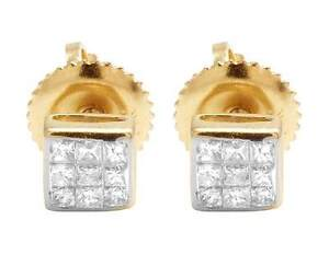 14K-Yellow-Gold-Invisible-Princess-Square-Real-Diamond-Stud-Earrings-25ct-4MM
