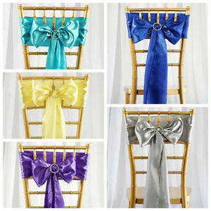 150 New Satin Chair Sashes Bows Ties Wedding Party Diy Decorations Wholesale Ebay