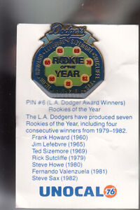VINTAGE-L-A-DODGERS-UNOCAL-PIN-UNUSED-ROOKIES-OF-THE-YEAR