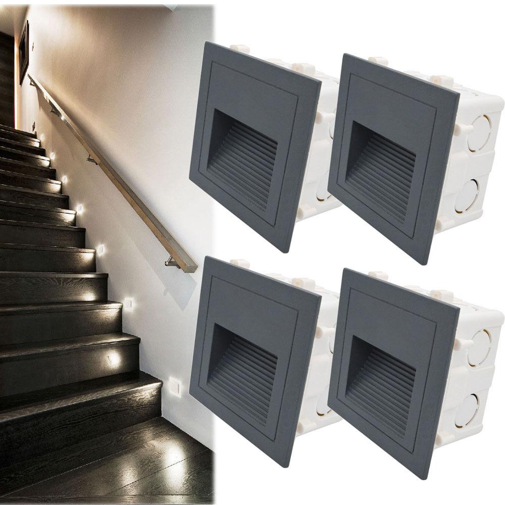 230V LED Wandeinbauleuchte Stufe Treppenlicht Stufenlicht Beleuchtung Lampe Alu