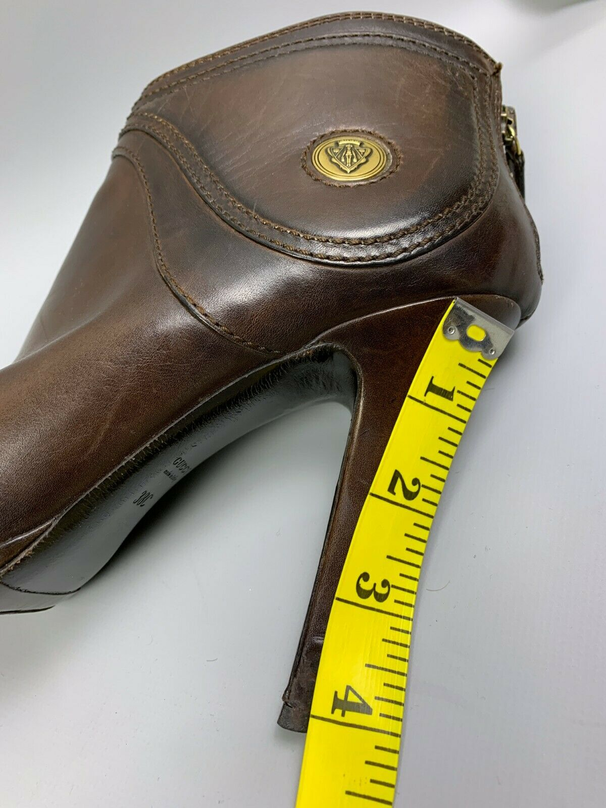 GUCCI Diana Brown Leather Ankle Boots Size 38 C L… - image 12