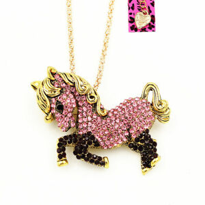 Betsey-Johnson-Pink-Crystal-Cute-Pony-Horse-Pendant-Chain-Necklace-Brooch-Pin
