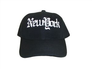 d6096535a3f New York NY Old English Embroidered Black   White Baseball Cap Caps ...
