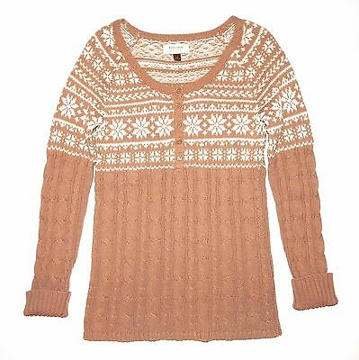 Sonoma Tan Ivory Snowflake Cable Knit Tunic Sweater Scoopneck Womens M S