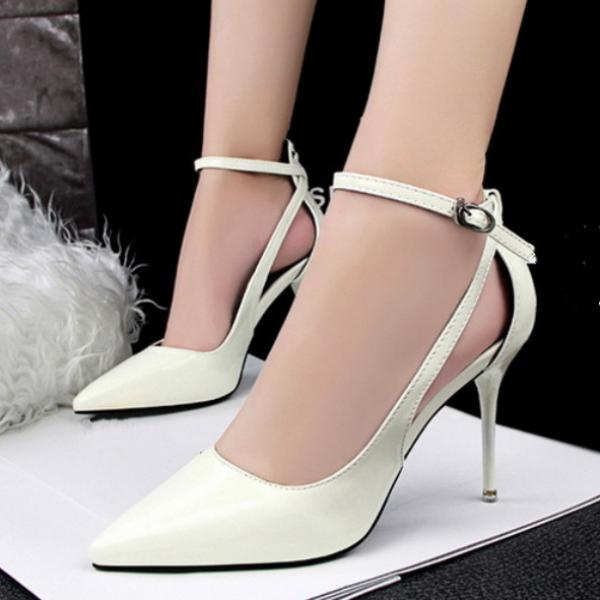 Decolte sandali eleganti bianco cinturino 9.5 cm comodi pelle sintetica CW622