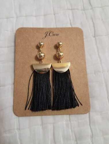FIERY SUNSET BLUE BLACK NEW J CREW WOMEN/'S GOLD TASSEL EARRINGS IN WHITE