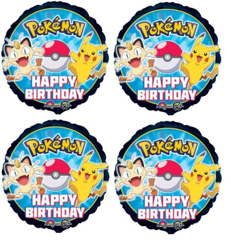 "4x 18/""Pokemon Happy Birthday Pikachu /& Meow Foil Mylar Balloon Party Supplies"