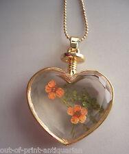 Gorgeous HEART Shape Floral Crystal Glass BOTTLE Pendant Necklace