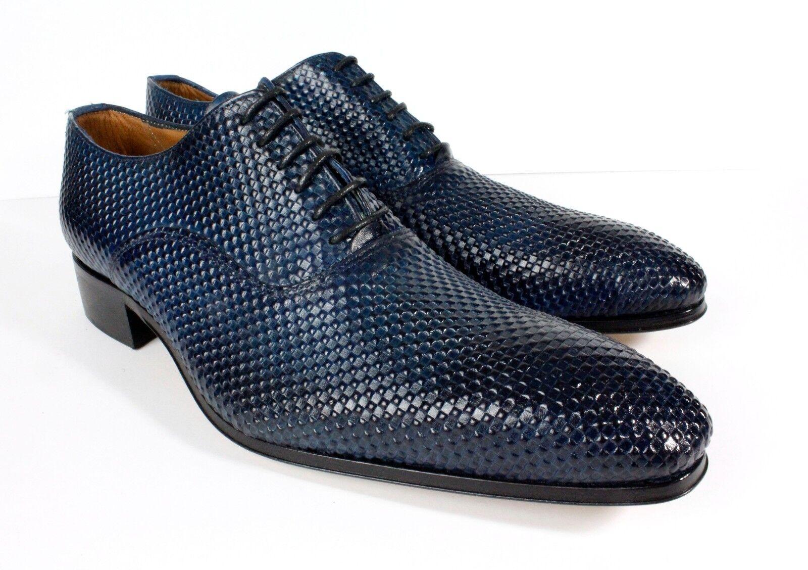 Ivan Troy Azul vestido de cuero italiano Yaya Hecho a Mano Hombres Zapatos Zapatos Oxford 46, 47