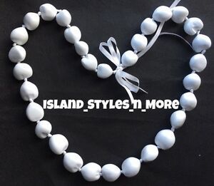 Hawaii Wedding Kukui Nut Lei Graduation Luau Hula Party Necklace SOLID WHITE NWT