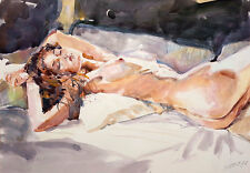 AKT AQUARELL Din A3 Gemälde | Watercolour Nude fineart SOFORTKAUF tg