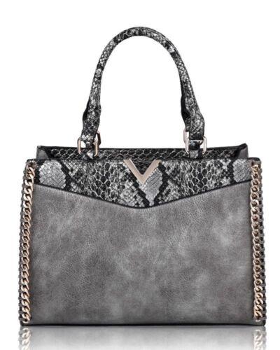 Pink Bag Black gray Gift Shoulder old Romaan;s tan Trim d burgundy Snake Silver School Chain V Skin Tote Handbolsas navy Women's antique RP7wqCT
