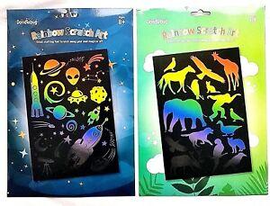2 X A4 Gravure Feuille Rainbow Kit Scratch Art Animaux Espace Grattoir Ensembles Rendre Les Choses Pratiques Pour Les Clients