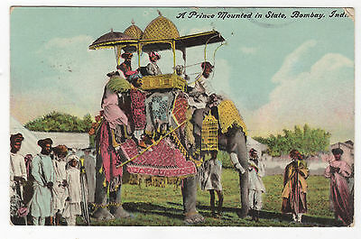 1910 A Prince Mounted in State, Bombay, India Antique Postcard Royal Elephant