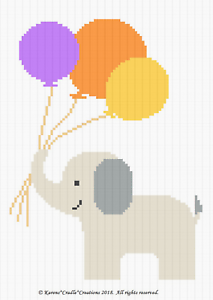 Crochet Pattern//Patterns ELEPHANT /& BALLOONS Color Graph Baby Pattern *EASY