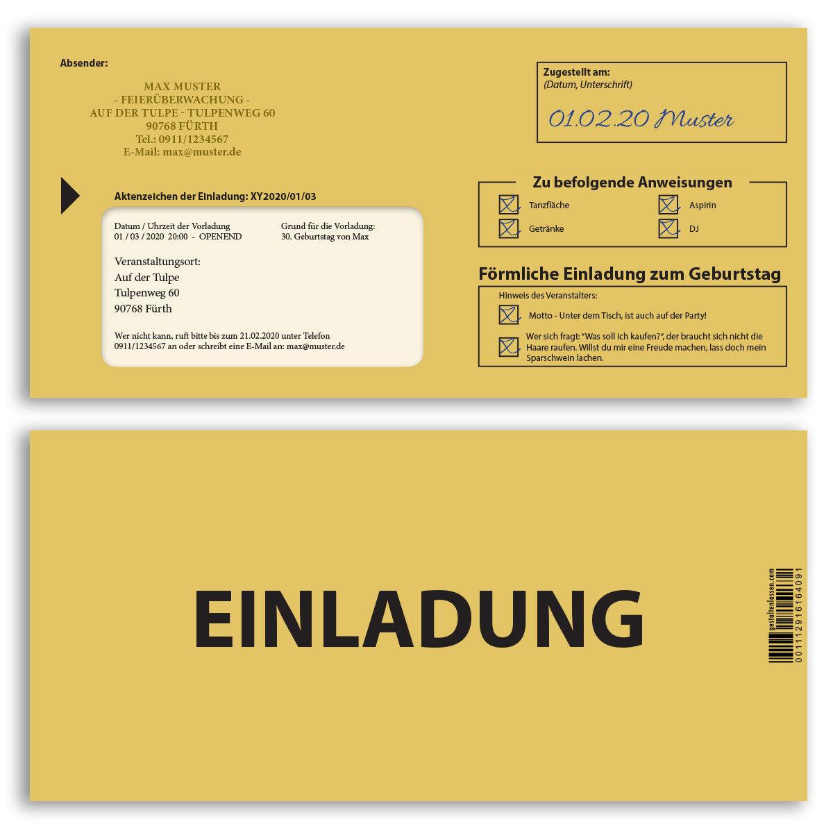 Einladungskarten zum Geburtstag Einschreiben Mahnbescheid förmliche Einladung | Moderne Muster  | Kostengünstig