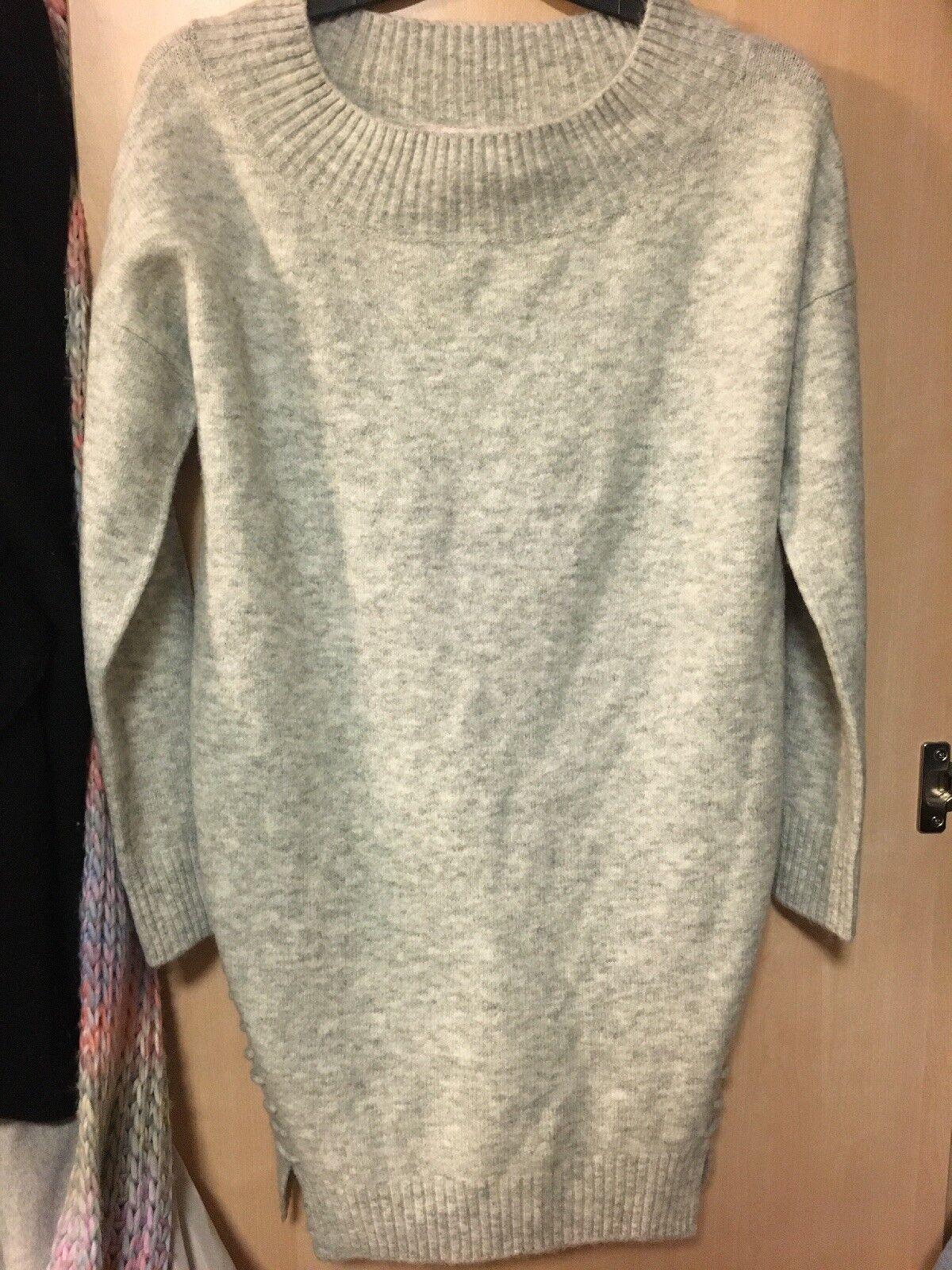 Miss Selfridge Petite Grey Knit Tunic Long Jumper Dress
