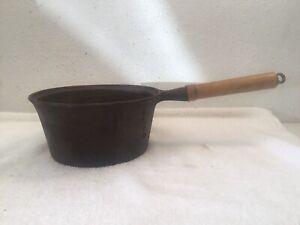 Vintage-WKM-Cast-Iron-2QT-Sauce-Pan-With-Wood-Handle-No-Lid