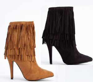 Stylish Ladies Tassels Fringes Pointy Toe Ankle Boots Stilettos High Heels Shoes