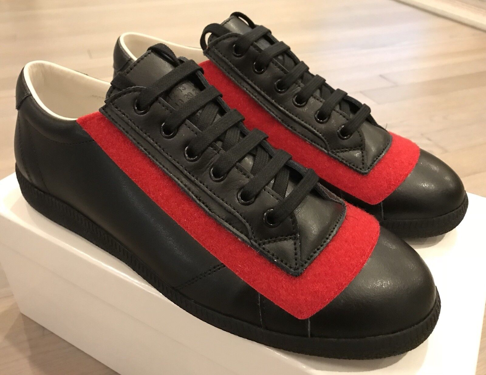 850 Maison Margiela Black Leather Red Velcro Sneakers size US 9.5 Made in Italy