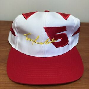 Terry LaBonte NASCAR Racing Hat Baseball Cap White Red Vintage 90s 5 Cars NWT