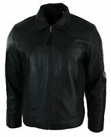 Mens Classic Zipped Real Leather Jacket Retro Black Only £69.99