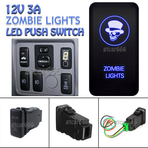 Blue LED Switch Push Button Zombie Light for Toyota Hilux Tacoma Fortuner Tundra