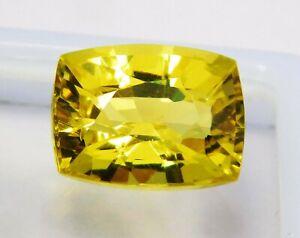 Natural-CERTIFIED-Cushion-Cut-12-Ct-Yellow-Ceylon-Sapphire-Loose-Gemstone