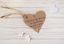 Mini 3.5cm Personalised Wedding Favour Heart Thank You Tags in 3 card colours