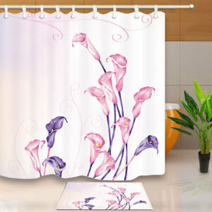 Image Is Loading Pink Calla Lily Bathroom Shower Curtain Waterproof Fabric