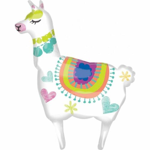 Large Llama Alpaca Shaped Foil Balloon Pink White Blue 28in 35in Reusable