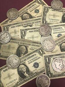 1935-amp-1957-Silver-Certificate-amp-1878-1904-MORGAN-SILVER-DOLLAR-90-SILVER