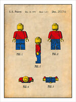 1979 Lego Toy Minifigures 2 Patent Print Colorized Art Drawing Poster 18x24